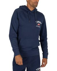 Tommy Hilfiger Washed Graphic Pullover Hoodie - Blue
