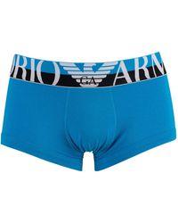 Emporio Armani Mega Logo Trunks - Blue