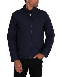 GANT Quilted Windcheater Jacket - Blue