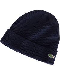 Lacoste - Marine Beanie Hat - Lyst