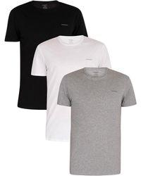 DIESEL 3 Pack Jake Plain Logo T-shirts - Grey