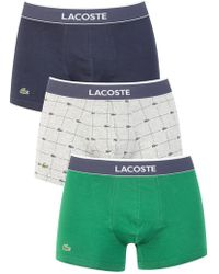 Lacoste - Navy/grey/green 3 Pack Cotton Stretch Trunks - Lyst