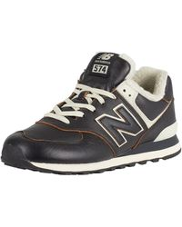 New Balance 574 Leather Sherpa Trainers - Black