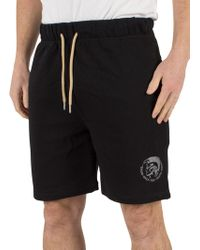 DIESEL Black Pan Only The Brave Logo Sweat Shorts