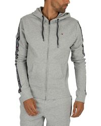 Tommy Hilfiger Zip Logo Tapping Hoodie - Gray