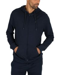 Tommy Hilfiger Lounge Zip Logo Hoodie - Blue