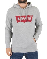 Levi's - Grey Graphic Pullover Logo Hoodie - Lyst
