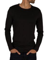 G-Star RAW Longsleeved Crew Logo T-shirt - Black