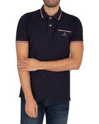 GANT Tipping Pique Rugger Polo Shirt - Blue