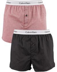 Calvin Klein 2 Pack Slim Fit Woven Boxers - Multicolour