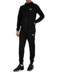 EA7 Zip Hoodie Jersey Tracksuit - Black