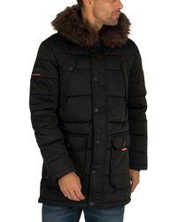 Superdry Men's Chinook Parka Jacket, Black Men's Jacket In Black