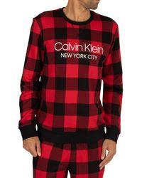 Calvin Klein Check Sweatshirt - Red