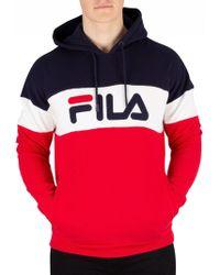 Fila - Peacoat Rayton Colour Block Pullover Hoodie - Lyst