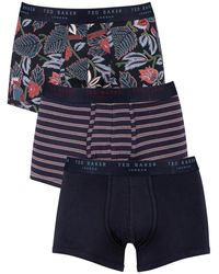 Ted Baker 3 Pack Fitted Trunks - Blue