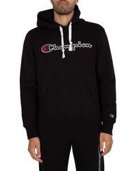 Champion Organic Cotton Blend Script Logo Pullover Hoodie - Black