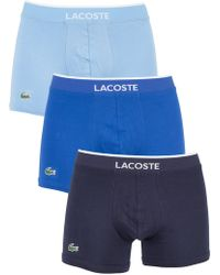 Lacoste - Light Blue/royal Blue/navy 3 Pack Cotton Stretch Logo Trunks - Lyst