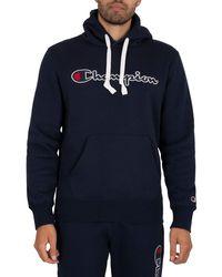 Champion Organic Cotton Blend Script Logo Pullover Hoodie - Blue