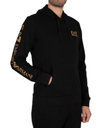 EA7 Logo Pullover Hoodie - Black