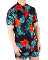 SIKSILK Resort Short Sleeve Hazy Daze Shirt - Red