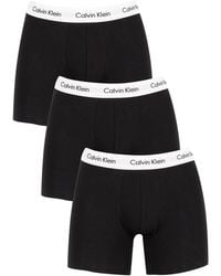Calvin Klein 3 Pack Cotton Stretch Boxer Briefs - Black
