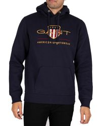 GANT Archive Shield Pullover Hoodie - Blue