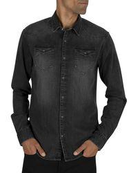 Scotch & Soda Ams Blauw Denim Shirt - Black