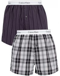 Calvin Klein - Ryan Striped Well/hickory Plaid 2 Pack Slim Trunks - Lyst