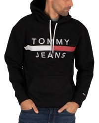 Tommy Hilfiger Tommy Jeans Reflective Flag Hoody - Black