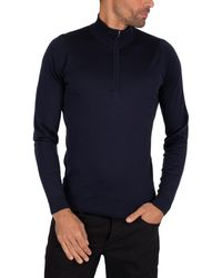 John Smedley Barrow Longsleeved Zip Knit - Blue