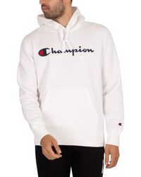 Champion Organic Cotton Blend Script Logo Pullover Hoodie - White