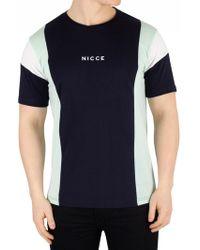 Nicce London Deep Navy/mint Homewood T-shirt - Blue