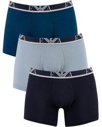 Emporio Armani 3 Pack Boxers - Blue