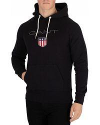 GANT - Black Shield Pullover Hoodie - Lyst