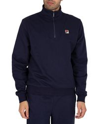 Fila Gully Funnel Neck 1/4 Zip Sweatshirt - Blue