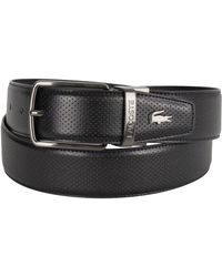 a366f31462d7eb Lacoste - Black Reversible Punched Leather Belt - Lyst