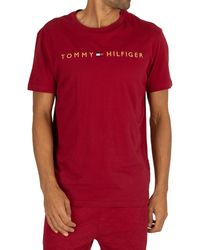 Tommy Hilfiger Cn Ss Tee Logo Gold Thermal Set - Red
