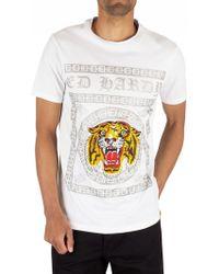 Ed Hardy Men's Tiger Tile T-shirt, White Men's T Shirt In White