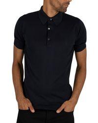 John Smedley Adrian Plain Polo Shirt - Blue