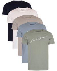 Jack & Jones 5 Pack Jax Graphic T-shirts - Blue