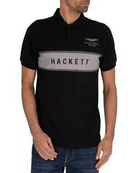 Hackett Chest Panel Polo Shirt - Black