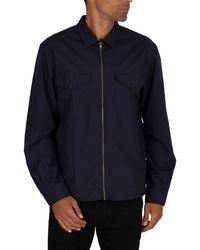 Tommy Hilfiger Peached Nylon Overshirt Jacket - Blue