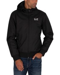 EA7 Hooded Bomber Jacket - Black
