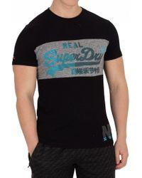 Superdry - Black/urban Grit Grey Vintage Logo 1st Panel T-shirt - Lyst