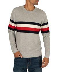 Tommy Hilfiger Crew Neck Global Stripe Sweater L Cloud Heather - Gray