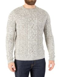 Only & Sons - Cloud Dancer Heather Cable Knit - Lyst