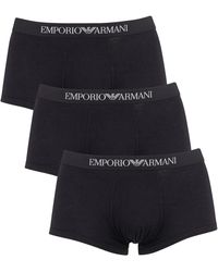 Emporio Armani 3 Pack Trunks - Black