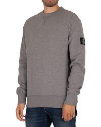 Calvin Klein Monogram Sleeve Badge Sweashirt - Grey