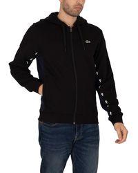 Lacoste Colourblock Fleece Zip Through Hoodie - Black