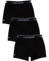 Lacoste 3 Pack Cotton Stretch Trunks Black